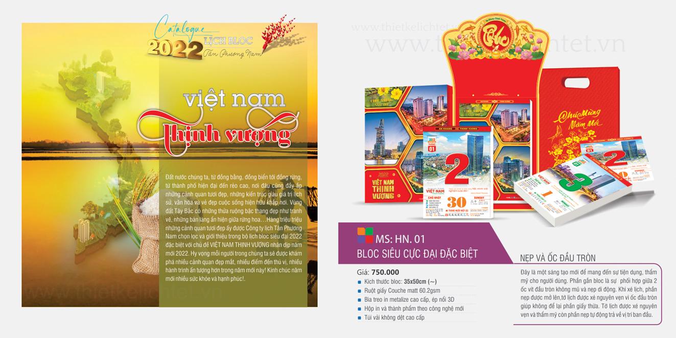 Lịch bloc siêu cực đại đặc biệt 38×53 Việt Nam Thịnh Vượng