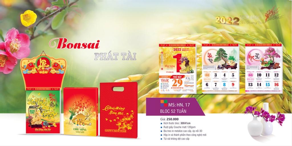 Mẫu lịch 52 tuần 2022 Bonsai Phát Tài