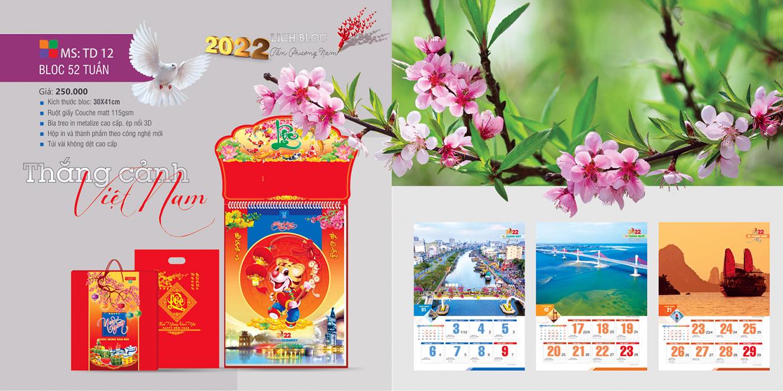 Mẫu lịch 52 tuần 2022 Thắng cảnh Việt Nam
